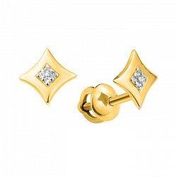 Серьги-пуссеты из желтого золота с фианитами 000103833