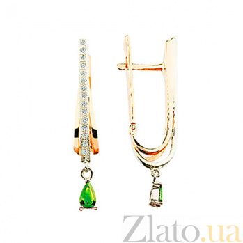 Золотые серьги с изумрудами и бриллиантами Лесная фея KBL--С2074/крас/изум