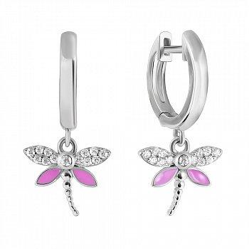 Серебряные серьги-подвески с розовой эмалью и белыми фианитами 000114968