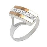 Серебряное кольцо с золотой вставкой и фианитами Дуэт