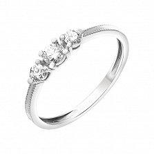 Золотое кольцо Женевьева в белом цвете с бриллиантами