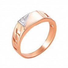 Золотое кольцо-печатка Имидж в комбинированном цвете с фианитом