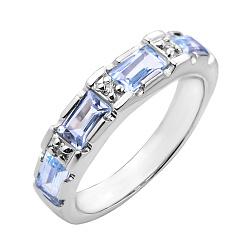 Серебряное кольцо с голубыми топазами и фианитами 000125605