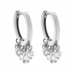 Серебряные родированные серьги-конго Лаура с подвесными завальцованными белыми фианитами 000088909