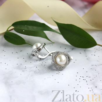 Серебряные серьги Розочка с белым жемчугом и фианитами 2302/9р б жем