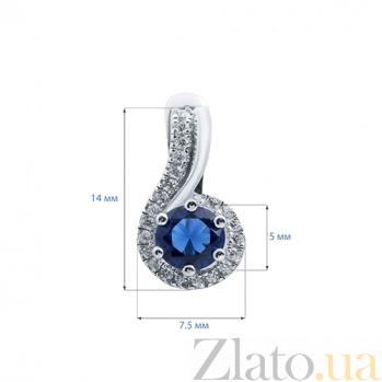 Серебряные серьги с синим цирконием Акцент AQA--XJT-0079-E1S