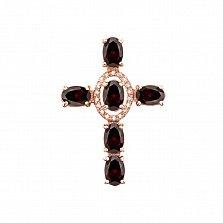 Декоративный крестик из красного золота с грнатом и фианитами 000131529