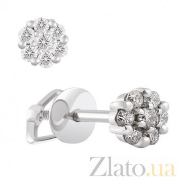 Пуссеты из белого золота с бриллиантами Шедевр KBL--С2323/бел/брил