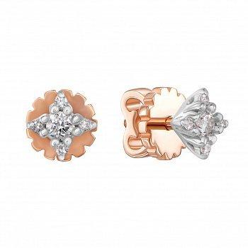Золотые серьги-пуссеты в комбинированном цвете с бриллиантами 000134281