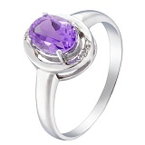 Серебряное кольцо Наина с аметистом и фианитами