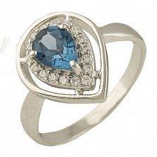 Серебряное кольцо Бланка с топазом лондон и фианитами
