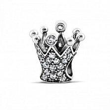 Серебряный шарм Корона с белыми фианитами