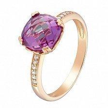 Золотое кольцо Аделаида с синтезированным александритом и фианитами