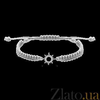 Детский плетеный браслет с серебряной вставкой Солнышко 11-11см 000080580