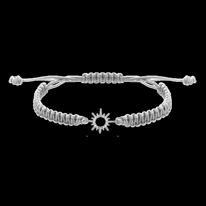 Серый плетеный браслет Солнышко с серебряной вставкой, 10-20см 000080580