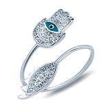 Серебряное кольцо Хамса с эмалью и фианитами