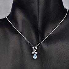 Серебряная подвеска Соланж с фантазийным бунтиком и голубым топазом