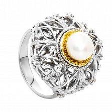 Серебряное кольцо с жемчугом и позолотой Камила