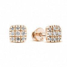 Серебряные позолоченные серьги-пуссеты Мирра с фианитами