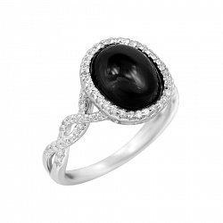 Серебряное кольцо с ониксом и фианитами 000088338