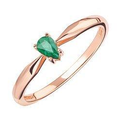 Золотое кольцо в красном цвете с изумрудом 000126144