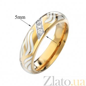 Обручальное кольцо Орио в красном цвете с бриллиантами и белой эмалью VLA--15440