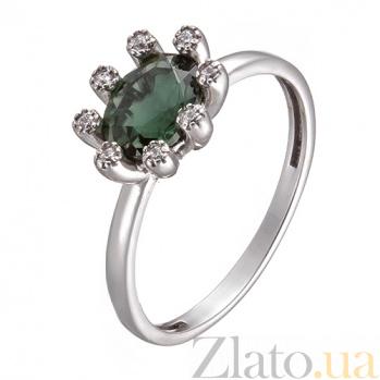 Серебряное кольцо с зеленым кварцем и фианитами Сорель 1739/9р зел кварц