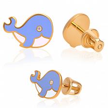 Золотые сережки Синий кит с бриллиантами и эмалью