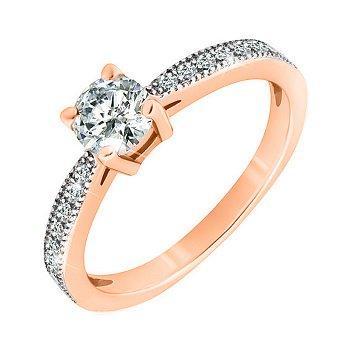 Серебряное кольцо с фианитами и позолотой 000042840