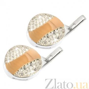 Серебряные серьги с золотыми вставками и фианитами Таблетка BGS--017с