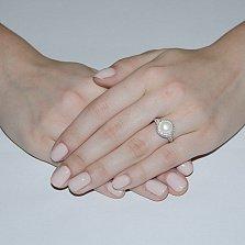 Серебряное кольцо Прованс с белым жемчугом и белыми фианитами