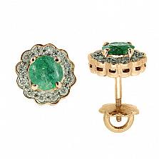 Золотые серьги с бриллиантами и изумрудами Мариэль