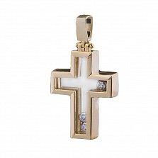 Золотой крестик Валетта с фианитами