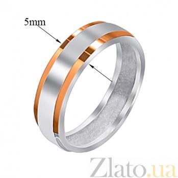 Серебряное кольцо Ромео с золотыми накладками 000008305