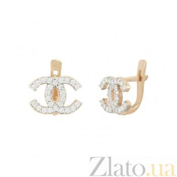 Золотые серьги с фианитами Коко Шанель 2С071-0023