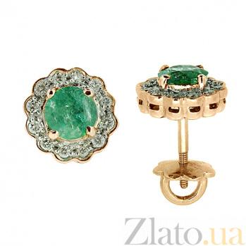 Золотые серьги с бриллиантами и изумрудами Мариэль ZMX--EE-6287_K