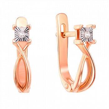 Серьги в комбинированном цвете золота с бриллиантами и алмазной гранью 000131454