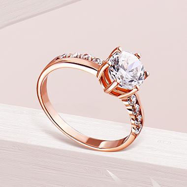 Золотое кольцо Неонила в красном цвете с фианитами