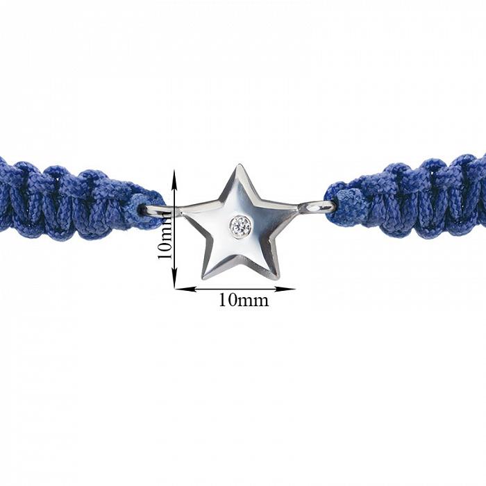 Синий плетеный браслет Звездочка с cеребряной вставкой и фианитом, 10х10мм 000080655