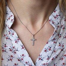 Золотой крестик Нагори в белом цвете с бриллиантами