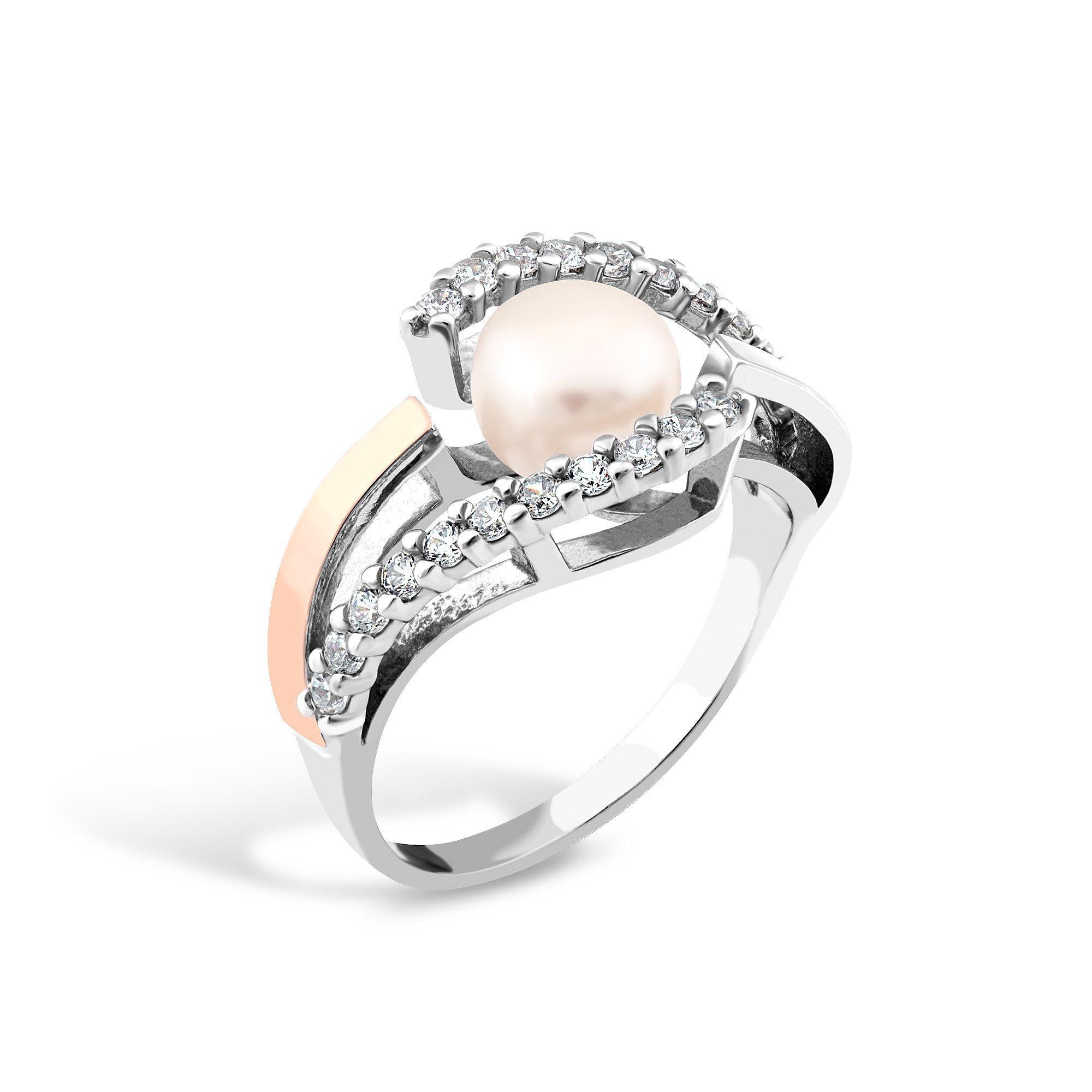Серебряное кольцо Ханна с золотой накладкой, жемчугом и фианитами