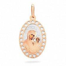 Ладанка из золота с эмалью Дева Мария с Младенцем