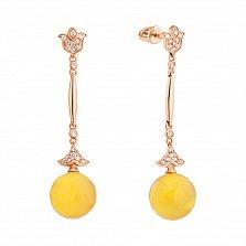 Золотые серьги-подвески Лилиан с янтарем и бриллиантами
