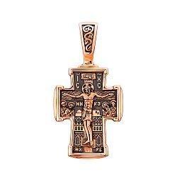 Православный крестик из красного золота с чернением 000132166