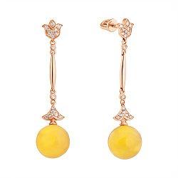 Золотые серьги-подвески с янтарем и бриллиантами 000050809