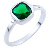 Серебряное кольцо Забава с синтезированным изумрудом
