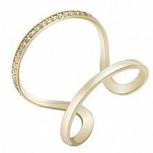 Золотое миди-кольцо Адриатика в желтом цвете с белыми фианитами