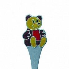Серебряная ложка с эмалью детская Мишка