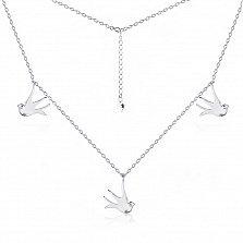 Серебряное колье Вольные ласточки с подвесками-птицами