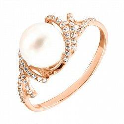 Кольцо из красного золота с жемчужиной и фианитами 000134549